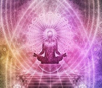 Picture of meditating person radiating energy waves